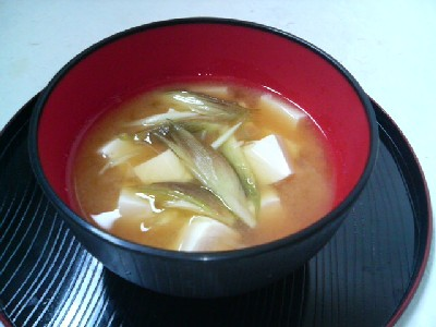 豆腐とみょうがの味噌汁