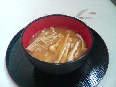 えのき茸と油揚げの味噌汁