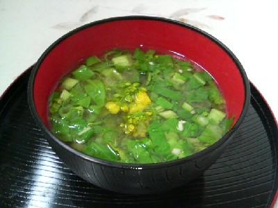 とう菜の味噌汁