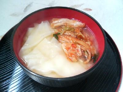 ワンタンキムチの味噌汁