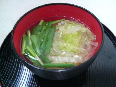 ニラと白菜の味噌汁